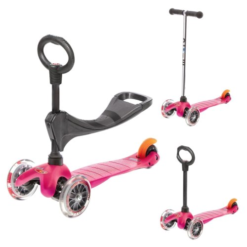 mini micro pinkO mm0086 Самокат мини микро с сидением 3в1 для детей 1 4 лет, цвет розовый