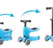 mini2go blue 180x164 Самокат Micro Mini2Go голубой c сиденьем MM0209