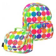 Рюкзак + сумочка ланчбокс для Mini Micro & Maxi Micro. Неоновый горох
