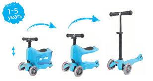 mini2go blue Самокат Micro Mini2Go голубой c сиденьем MM0209